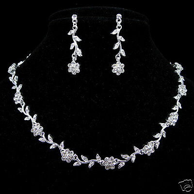 Lovely Little Flower Leaf Wedding Austrian Crystal Set