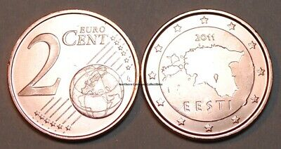 2011 Estonia 2 Cent Coin Unc from Roll BU Nice