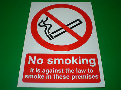 No Smoking It Is Against The Law To Smoke In These Premises A5 Sticker