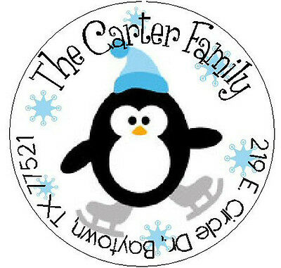 PENGUIN & SNOWFLAKES - Round Return Address Labels