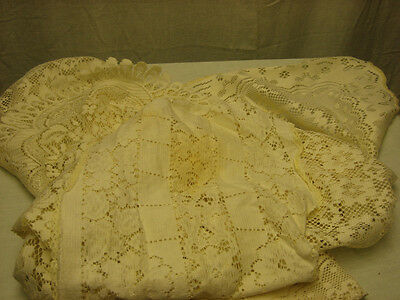 Vintage Hand Made Custom 4 Piece White Runner Small Rug Floral Design