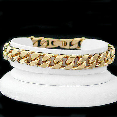 "NEW 14ct Gold GL Mens 9mm SQUARE CURB Link 8"" SOLID Bracelet LIFETIME WARRANTY"