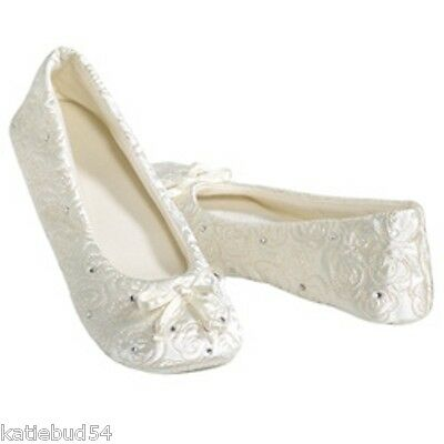 Isotoner Quilted IVORY Satin Wedding Slippers with Rhinestones Suede Sole