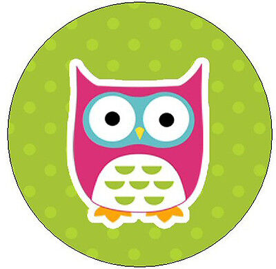 """PINK OWL ON GREEN - 1"""" Round Labels Seals/Stickers"""