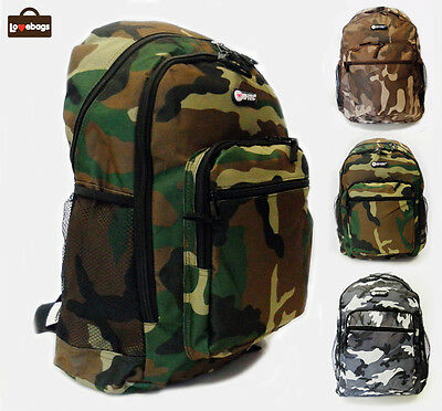 New Mens Girls Hi-Tec Camo Army School Camping Travel Hand Luggage Backpack Bag