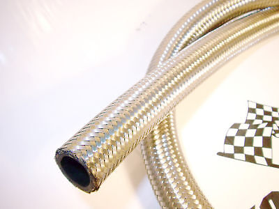 """AN -6 (8mm) 5/16"""" Stainless Steel Braided Fuel Hose 1 M"""