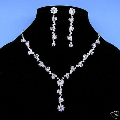 Wedding Dangle Dangly Crystal Necklace Earrings Set