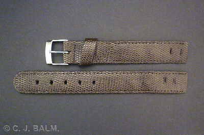 Quality Brown Lizard Leather Vintage Style Open-Ended Watch Strap 16mm 18mm 20mm