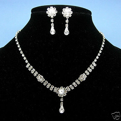 Wedding Dangle Dangly Drip Drop Crystal Necklace Earrings Set