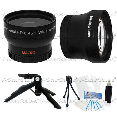 30mm 0.45X Wide Angle and 2X Telephoto Lens for Sony SR88 XR150 CX150 DVD650