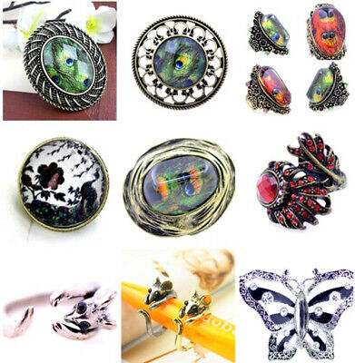 Vintage style antique gold / silver mouse charm ring
