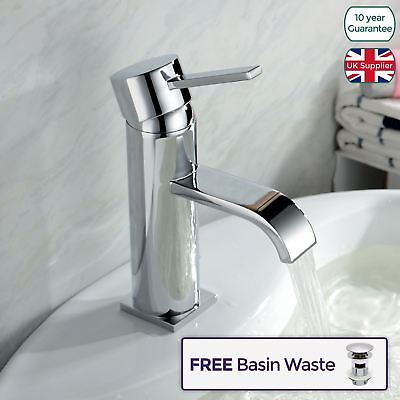 URBAN CURVE FLAT SPOUT BATHROOM BASIN MIXER TAP and POP-UP WASTE
