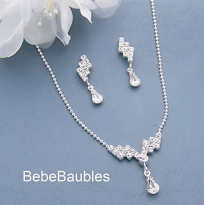 Crystal Necklace Set Earrings Bridal Wedding Bridesmaid Gift Jewelry Silver SP
