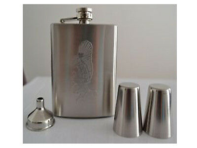 NEW STAINLESS STEEL 8oz HIP FLASK & POURING FUNNEL + 4 25ml CUPS GIFT SET
