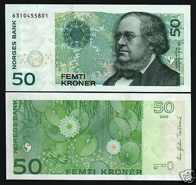 Norway 50 Kroner P46C 2003 Key Dragonfly Water Lillies Unc Norwegian Money Note