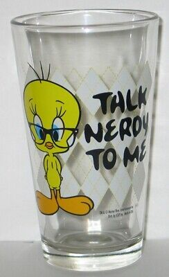 Looney Tunes Tweety Bird Figure Talk Nerdy To Me Clear Pint Glass, NEW UNUSED