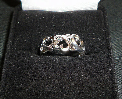 Triple Hearts Sterling Silver Plated Ring Size 7.25