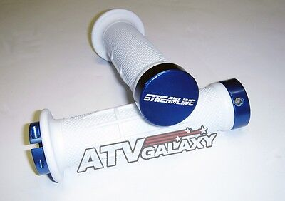 Streamline Pro Lock Locking Grips Bars White Blue Honda Yamaha Suzuki ATV