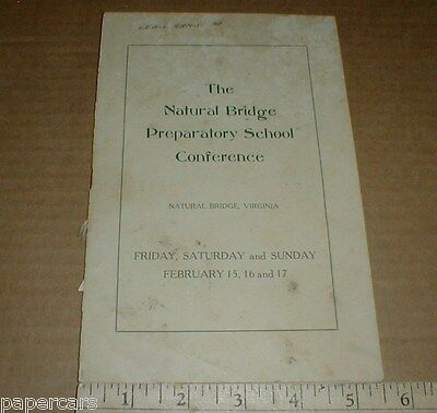 Natural Bridge Preparatory School Conference 1946 Vintage Program Virginia VA