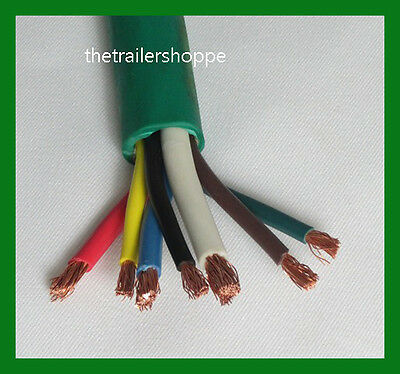 ft foot way trailer cord wire harness light plug connector trailer light cable wiring harness 7 wire jacketed green flexible heavy duty abs