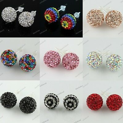 SWAROVSKI CRYSTAL BALL 925 STERLING SILVER FASHION STUD CHARMING EARRINGS 10MM