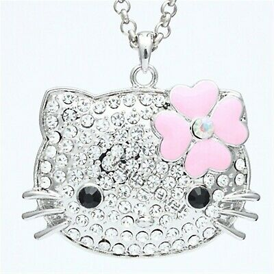 N Large Bing Hello Kitty with Pink Enamel Flower Crystal Pendant Necklace NP703