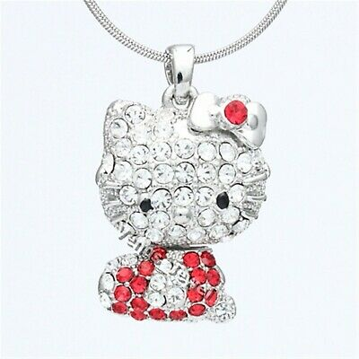 N Red Clear Rhinestone Crystal Hello Kitty Doll Pendant Necklace NP695