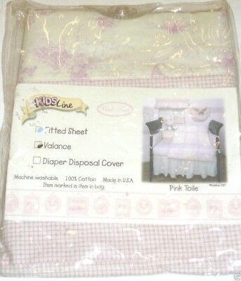 Kidsline Pink Toile VALANCE French playground scene ivory gingham check NEW NIOP