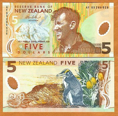 New Zealand, $5, 2005, Polymer, Pick 185 (185b), UNC > Penguin
