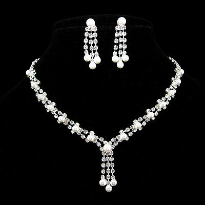 Elegant Slim Wedding or Party Pearl Crystal Set