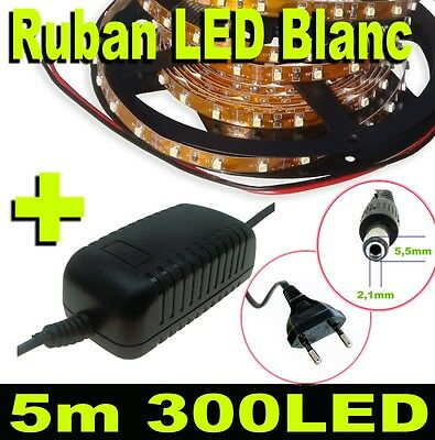 801MA/5# Ruban LED blanc 5m - 300 LED 3528 + alimentation