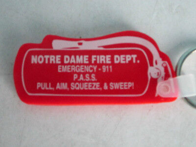 Notre Dame Fire Department Red Fire Extinguisher-Shaped Key Fob -- Never Used
