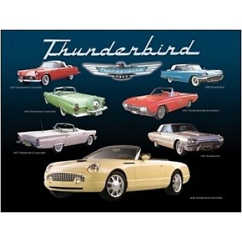 Ford Thunderbird 55 56 57 58 63 65 2002 Montage Tin Sign
