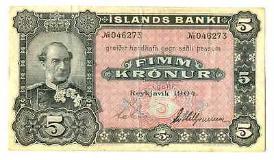 Iceland Islands Banki 5 Kronur 1904 F+/VF RARE