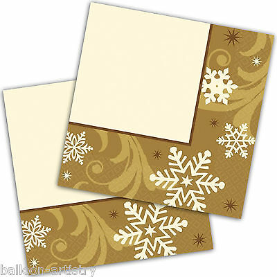 16 Elegant GOLD Christmas Disposable 33cm Paper Luncheon Napkins Serviettes