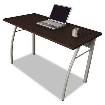 Rectangular Desk with Powder Coated Steel Frame and Mocha Laminate Top