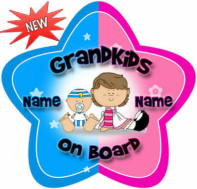Personalised Pink & Blue Grandkids Star Shaped  Baby On Board Car Sign ~ New!