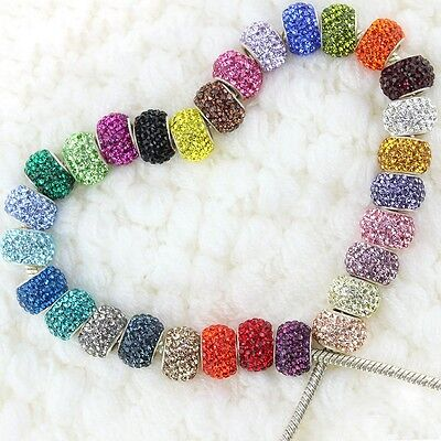 New Swarovski Crystal 925 Sterling Silver Large Hole European Charm Beads 14mm