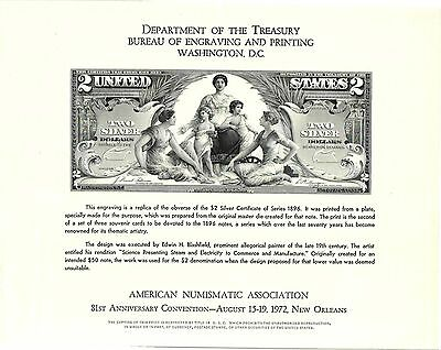 BEP SOUVENIR CARD ANA 1972 NEW ORLEANS 1896 EDUCATIONAL $2 SILVER CERTIFICATE