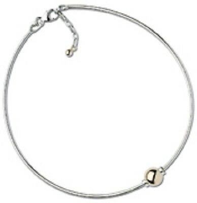 Cape Cod Anklet Sterling Silver Omega Chain with a 14K Yellow Gold Smooth Ball