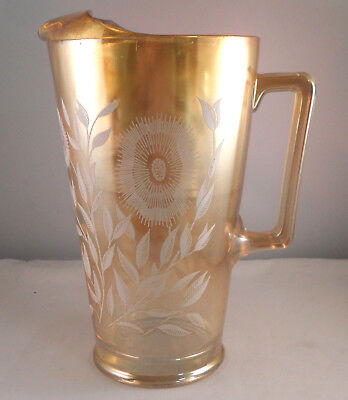 JEANNETTE COSMOS White on Marigold TALL CARNIVAL GLASS PITCHER 1949