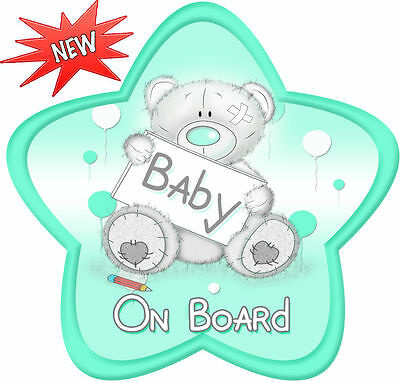 Non Personalised Baby Lovememuch Bear Aqua Star Shaped Baby On Board Car Sign