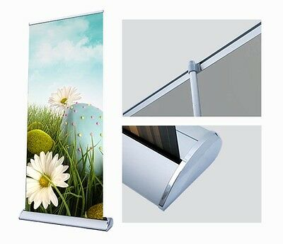 """Retractable scrolling Banner Stand - 33"""" Wide with YOUR CUSTOM PRINT !!!"""