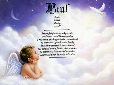 Angel Boy 1 Name Meaning Print Personalized (Nursery Decor, Caucasion)