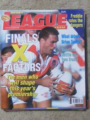 Rugby League Week Vol 30 no 29 August 25 1999 very good condition