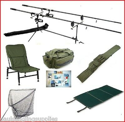 Carp Fishing Set Kit Rods Reels Alarms Chair Rod Pod Net Rod Bag Carryall Tackle