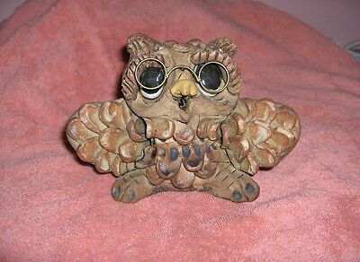 Very Cute Vintage Wise Old Owl Ceramic Figurine Glasses Signed