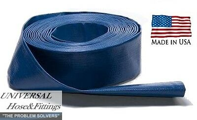 "1-1/2"" X 50' Water Discharge Hose Made In Usa Blue Trash Pump"