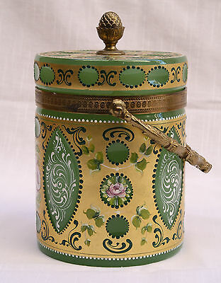 Magnificent 1900's French Enameled Opaline Biscuit Jar