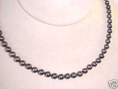 "$Wholesale $ Akoya 6-6.5Mm Black Cultured Pearl Strand 18"" Long 14K Gold Clasp"